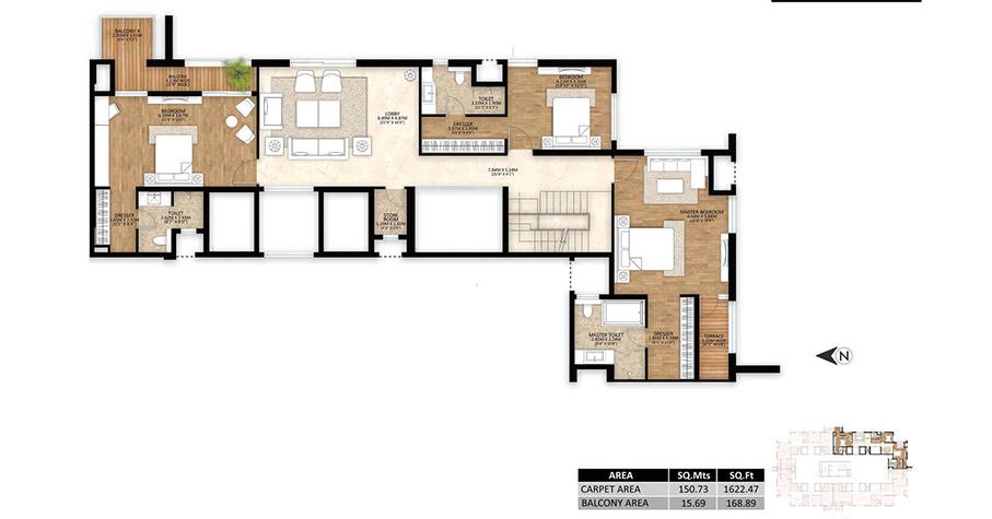 Mahindra Luminare - Tower C - 5 BHK penthouse Lower Unit Plan