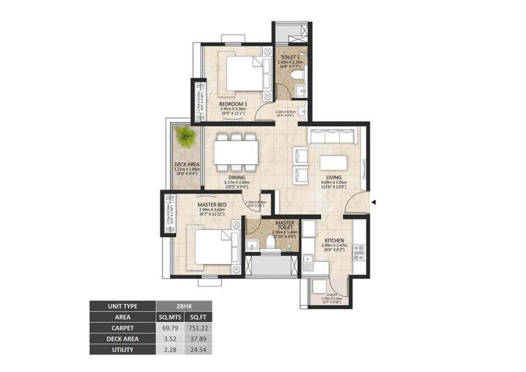 Mahindra Lakewoods 2 BHK Apartment - Unit Plan
