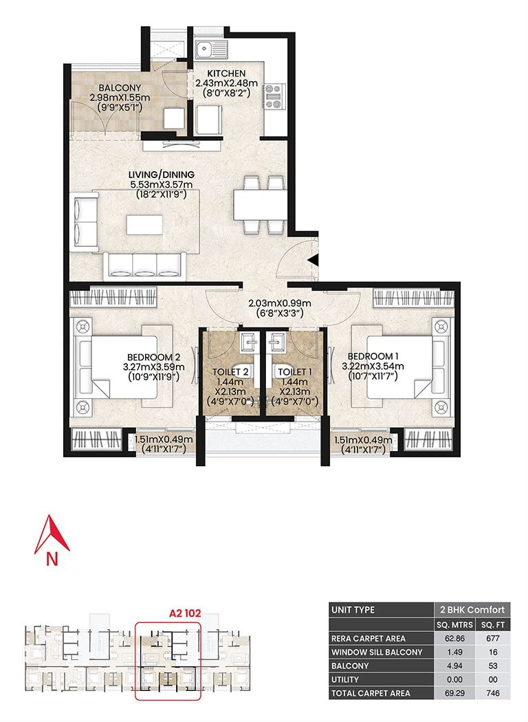 Mahindra Vicino - 2 BHK Comfort Unit Plan